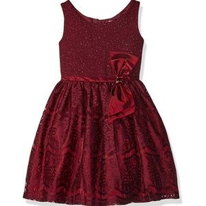Youngland Girls' Sparkle Knit to Lace Party Dress